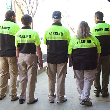 row of enforcement officers from Baylor Parking