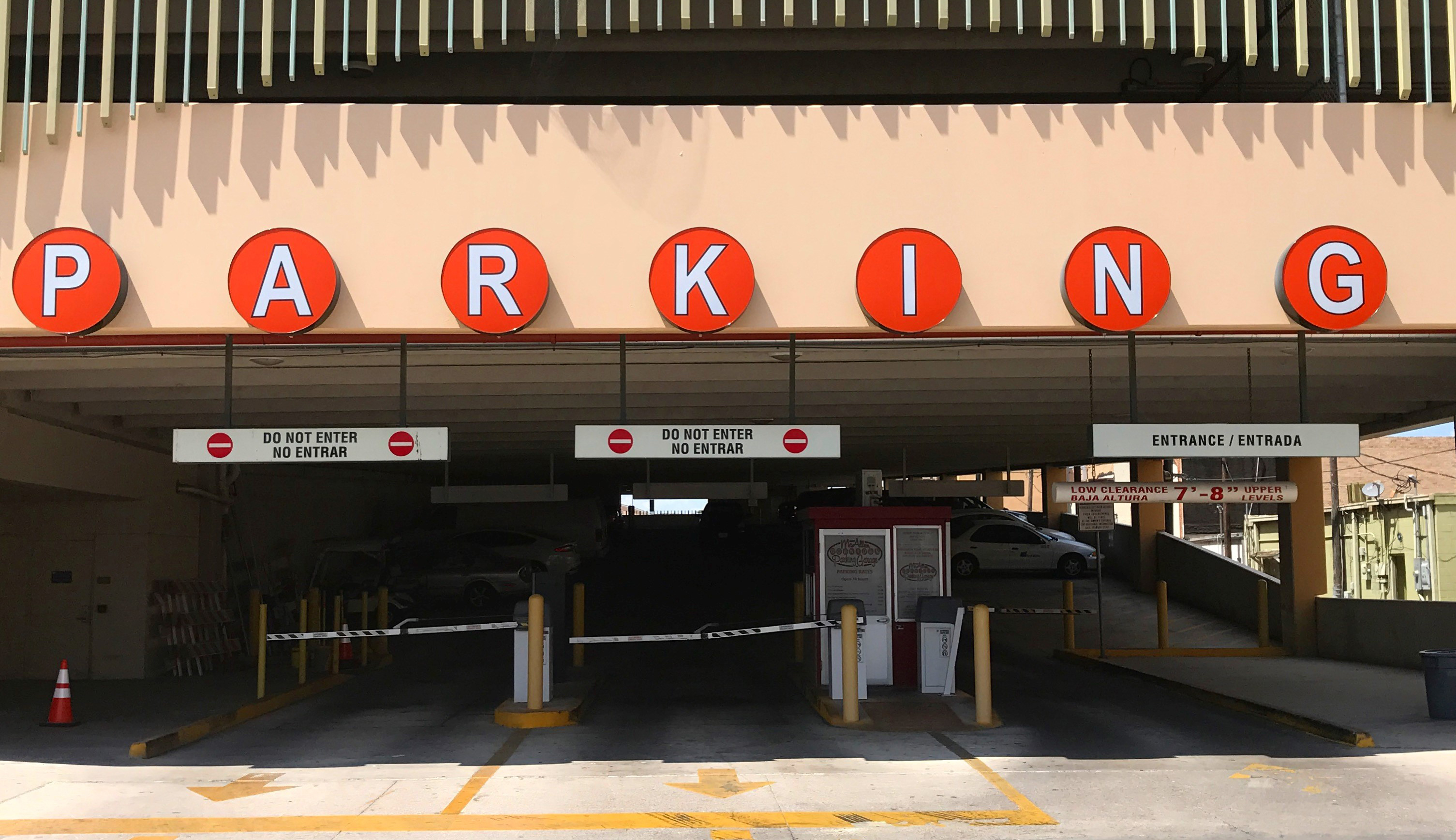 entrance to parking garage of City of McAllen