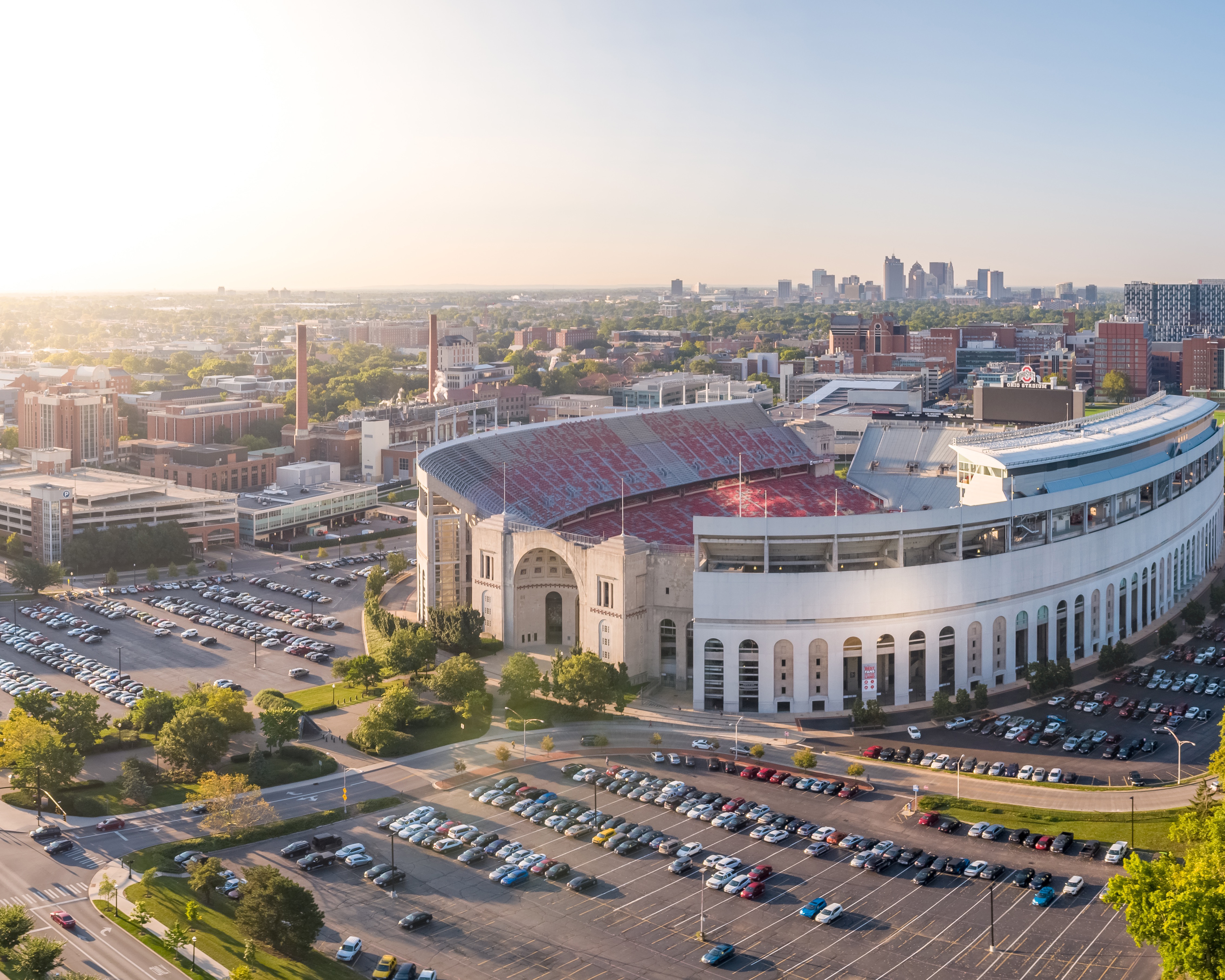 Aerial scene of Ohio state university stadium and parking lot